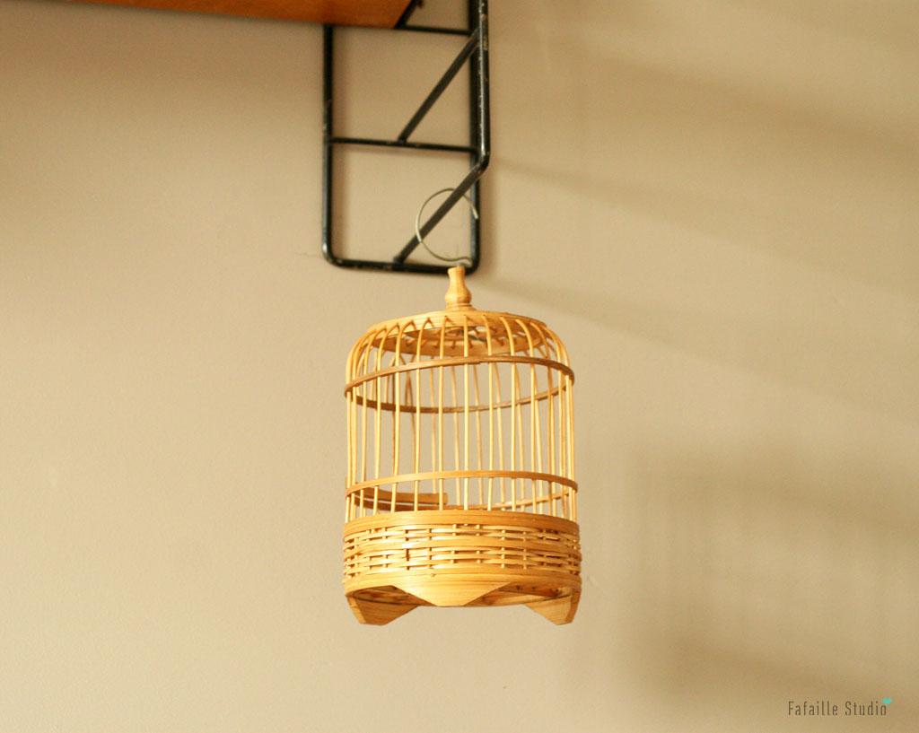 Cage à oiseaux en rotin